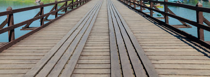 Old wood bridge point of view Royalty Free Stock Image