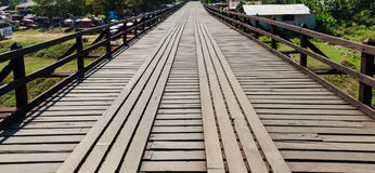 Old wood bridge point of view Royalty Free Stock Photography