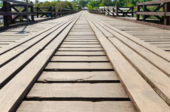 Old wood bridge point of view Royalty Free Stock Photo