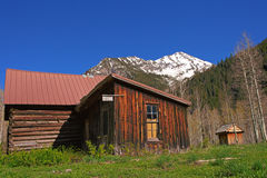 Old wood buildings in the Crystal Mill Ghost town Stock Image