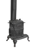 Old wood burning heater stove isolated. Royalty Free Stock Photos