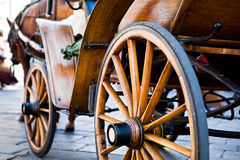 Old wood carriage. Old wooden carriage with horse Royalty Free Stock Image