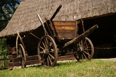 Old wood cart under barn Stock Photography