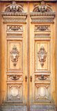 Old Wood Carving Door Background stock image