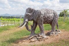 Old wood carving elephant Stock Images