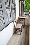 Old wood chair on terrace. Royalty Free Stock Images