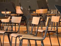 Wood chairs on a stage stock images