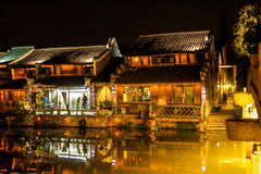 Old wood chinese city by night Royalty Free Stock Photography