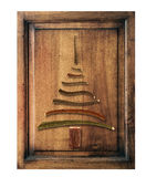 Old wood  with christmas tree Royalty Free Stock Images
