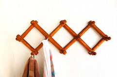 Old wood clothes  hanger Stock Images