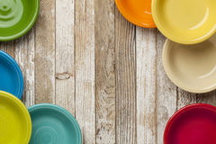 Old wood and color bowls Stock Image