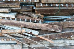 Old wood construction waste and fabric groove. Old wood construction waste and dirty fabric groove royalty free stock image
