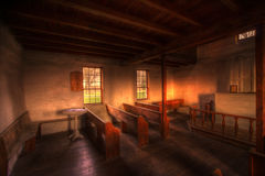 Old wood country church interior Stock Photography