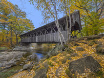 Old wood covered bridge stock photo