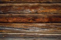 Old wood cut texture. Wooden blockhouse old Ukrainian village house royalty free stock photos