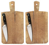Old Wood Cutting Board and Knife Royalty Free Stock Photos