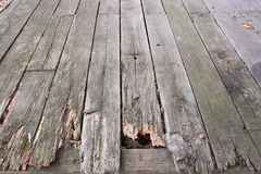 Old Wood Decking Background. Old weathered boards on a hunting cabin porch Stock Images