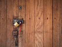 Old wood door close and lock Stock Image