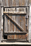 Old wood door on garret Stock Photo