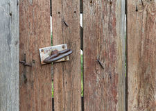 Old wood and door handle Royalty Free Stock Image