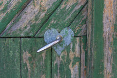 Old wood and door handle Stock Photography