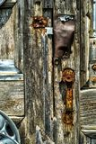 Old wood door and handle royalty free stock photos