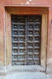 Old Wood Door India Red Wall royalty free stock photography
