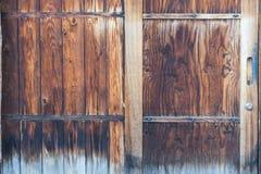 Old wood door japanese style , slide door Royalty Free Stock Photos