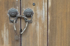 Old wood door lock. With master key Royalty Free Stock Images