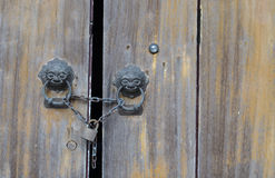 Old wood door lock with master key. Stock Image