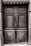 Old Wood Door on Medieval Historic House Royalty Free Stock Photography