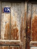 Old wood door with number 17 Stock Photos