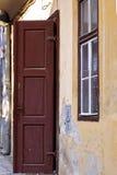 Old wood door opened stock photography