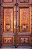 Old wood door on Peles museum, Sinaia Romania.  Stock Images