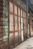 Old wood door. The old wood door in slum bangkok stock images