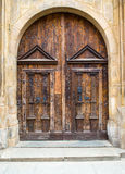 Old wood doors, gate to the church or castle Stock Image