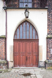 Old wood doors to cathedral Stock Photos