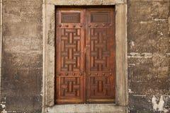 Old Wood Dor. Old wood door in the blue mosque Stock Photo