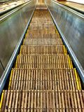 Old wood escalator steps Stock Photo