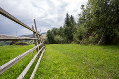 Old wood fence. Simple old wood fence near trees stock photo