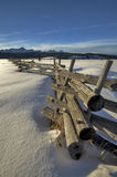 Old wood fence winter and mountains Idaho Royalty Free Stock Photography