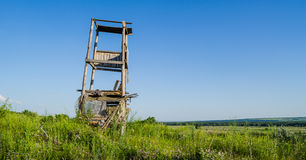 Old wood fire watchtower. In the meadow Stock Images