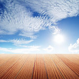 Old Wood floor and blue sky for background Royalty Free Stock Photo