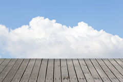 Old wood floor and cloudy sky Stock Photography