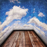 Old wood floor and cloudy sky Stock Image