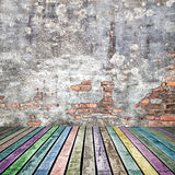 Old wood floor  colorful color on  grunge background Royalty Free Stock Images