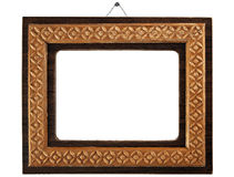 Old  wood frame with a simple ornament Stock Image