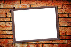 Old wood frame white board on Brick Wall Royalty Free Stock Photos