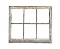 Old wood frame window isolated. Old and worn six pane wooden frame window with no glass.  Isolated on white Royalty Free Stock Photo