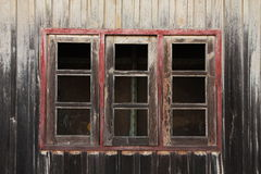Old wood frame window. At the train station in Thailand Royalty Free Stock Photo